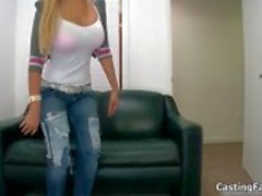 Nasty blonde slut came to her casting to fuck