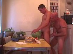 Two guys fuck pie and watermelon then have sex