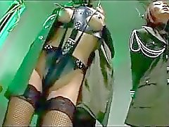 2 Asian Soldier Girls With Tied Arms Getting Pignose Kissing Tortured By 2 Guys In The Prison