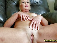 Blonde slavers over hard dick