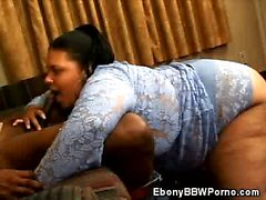 Ebony BBW Shyy Mouthing a Cock