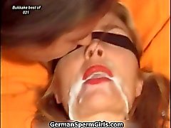 Cute blonde whore gets her face jizzed