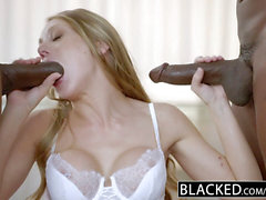 BLACKED platinum-blonde Personal Assistant Shawna Lenee Loves dark-hued studs