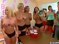 Abbey Brooks and Nikki Delano suck dick at a college party