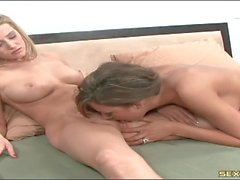 Carli Banks moans as a hot tongue eats her pussy