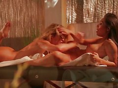 Naked lesbian massage with Jessica Drake and Asa Akira