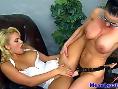 Lezdom mistres strapon fucks her gorgeous blonde sub