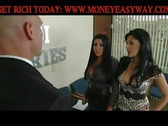 Threesome FFM with Audrey Bitoni and Aletta Ocean fucking Johnny Sins