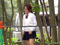 Watched oriental teenager peeing in street